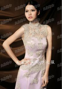 2015 new retro high collar lavender significant lanky models toast trailing fishtail evening dress wedding hotel