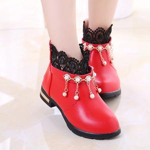 2021春秋新款二棉鞋黑色子女童皮鞋