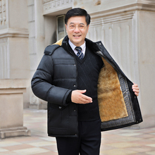 Middle aged men's father winter cotton coat winter coat large cotton padded jacket middle aged and old men's plush and thickened cotton coat man