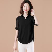 大码雪纺衫女胖mm2021夏新款洋气黑色宽松遮肚子衬衫中年短袖上衣