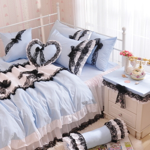 Korean ladies house black cotton lace temptations Korean princess bedding cotton bedding a family of four