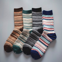 Autumn and winter new style Japanese socks men's pile socks fashion brand no line retro national style thick line socks personality