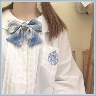 安可原创 樱花中 秋冬学院风娃娃领刺绣风琴褶长袖衬衫衬衣