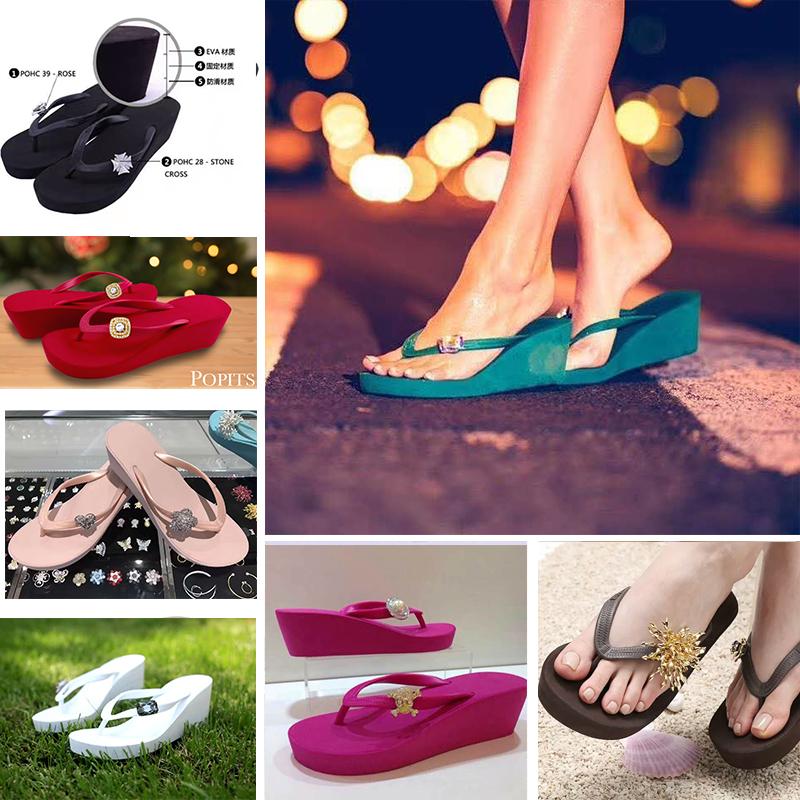 POPITS女士正品5厘米坡跟时尚人字拖沙滩夹脚拖鞋