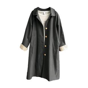2020春秋韓版流行赫本風大衣寬鬆復古中長款英倫風過膝風衣外套女