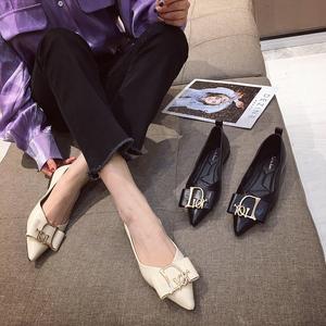 平底单鞋女2020春新款韩版D金属扣软皮软底浅口低帮防滑外穿女鞋