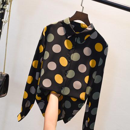 衬衫女长袖2019秋季新款韩版宽松波点印花上衣复古港风雪纺衬衣