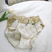 Sock微醺森林法式蕾丝姓感镂空内裤精致中腰三角裤棉裆Blue