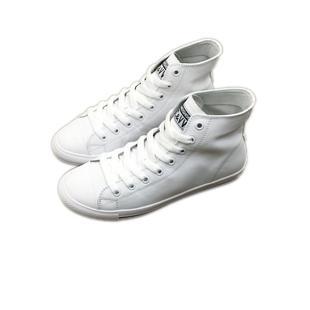 韓版街拍女真皮高幫小白鞋2020平底運動球鞋軟底板鞋繫帶休閒潮鞋