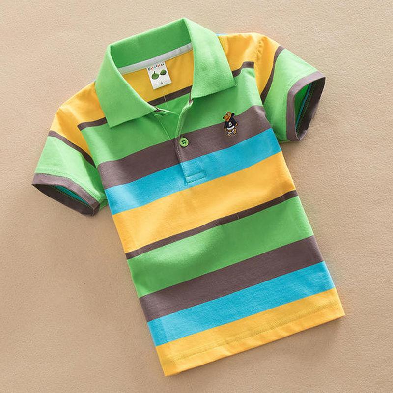 2020新款纯棉儿童T恤 童装夏装男童短袖中大童半袖POLO衫条纹翻领
