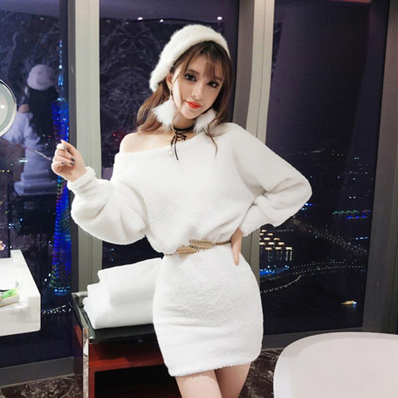 夜店女装2018秋冬新款气质毛绒斜肩露肩收腰包臀长袖连衣裙送腰带
