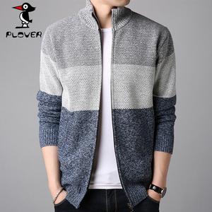啄木鸟男装秋冬季羊毛衫条纹毛衣针织衫男士外套毛线衣拉链开衫