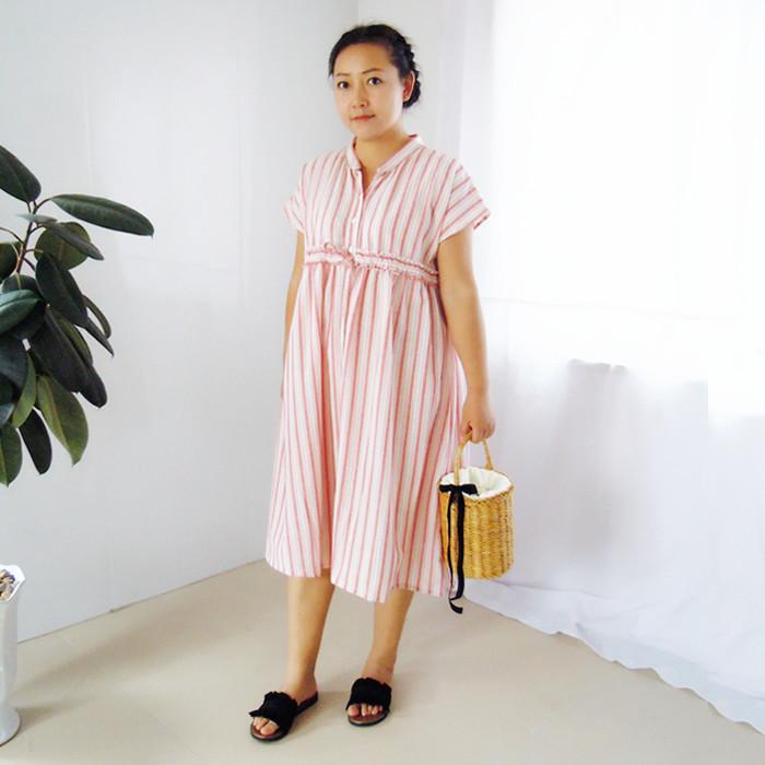 原创自制夏季棉麻条纹高腰半袖立领系扣宽松连衣裙女装中长裙
