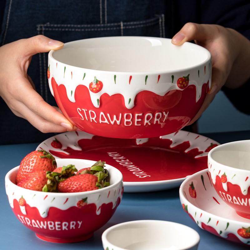 碗单个创意个性泡面碗汤碗大号面碗草莓碗饭碗餐具少女心可爱家用图片