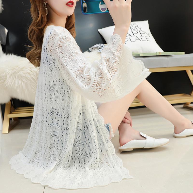 很仙的镂空针织开衫女薄2019夏装新款宽松网红上衣防晒空调衫外套满108.00元可用53元优惠券