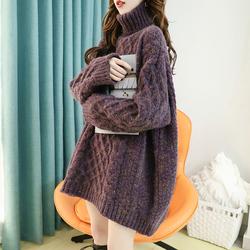 中长款高领毛衣女宽松外穿慵懒风秋冬季2020新款粗线加厚红色外套