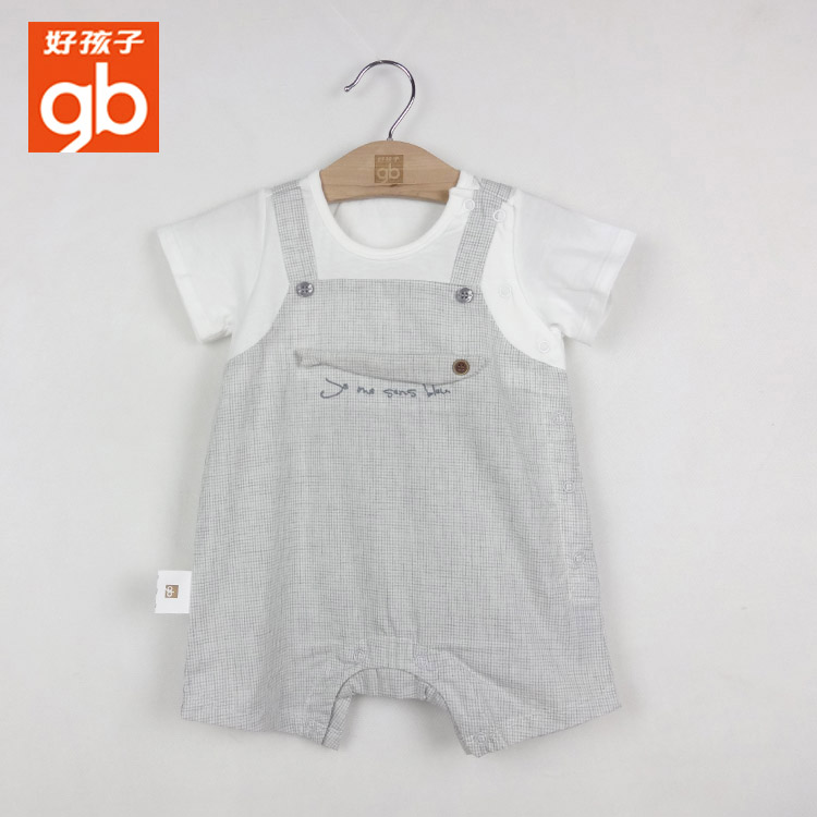 Good childrens spring and Summer Boys short sleeve Jumpsuit bw18211171 fake two pieces of pure cotton