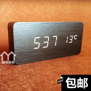 創意個性卧室鬧鐘靜音懶人夜光現代電子時鐘時尚木頭鍾牀頭座鐘表