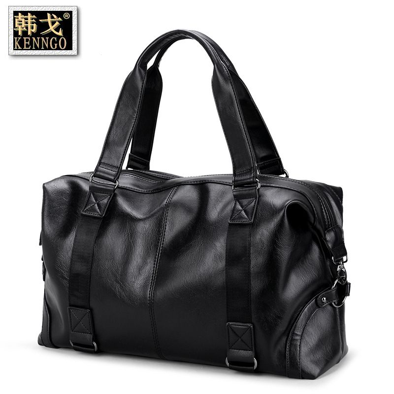 Travel bags Men's handbags Large-capacity travel bags Short-distance business trips One-shoulder sloping leather fitness bag