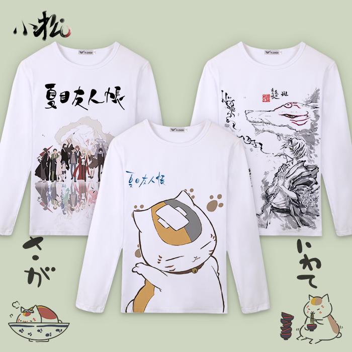 Summer friends account T-shirt cat teacher Guizhi Japanese anime clothes autumn home mens long sleeve mens and womens clothes