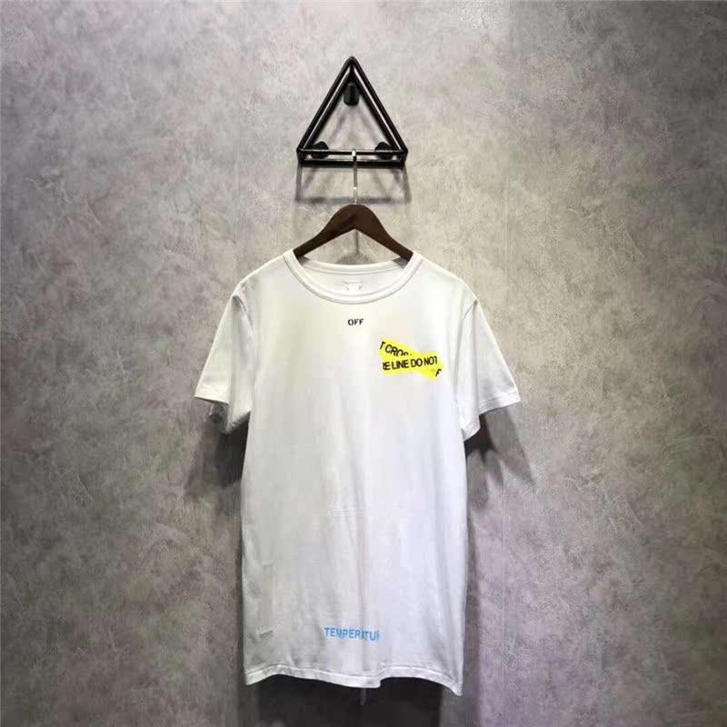 OFF ANGEL WHITE 18SS基础警示线字母短袖TEE 男女款T恤