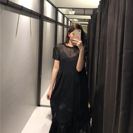 2020新款 ZA家女装 植绒薄纱长款连衣裙 09878169800