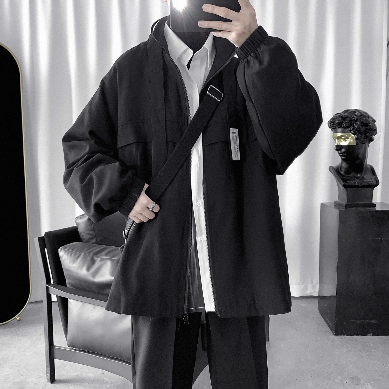 春秋冬季新款韩版潮流学生宽松工装外套风衣男短款英伦很仙2020