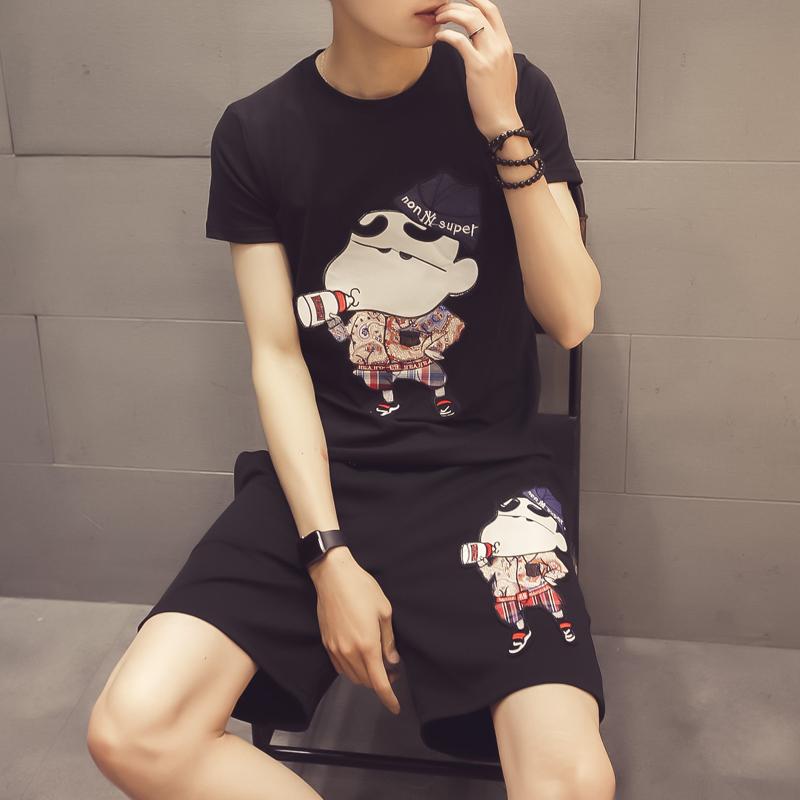 夏天短袖t恤运动套装男潮流韩版男士夏季一套2018新款休闲两件套