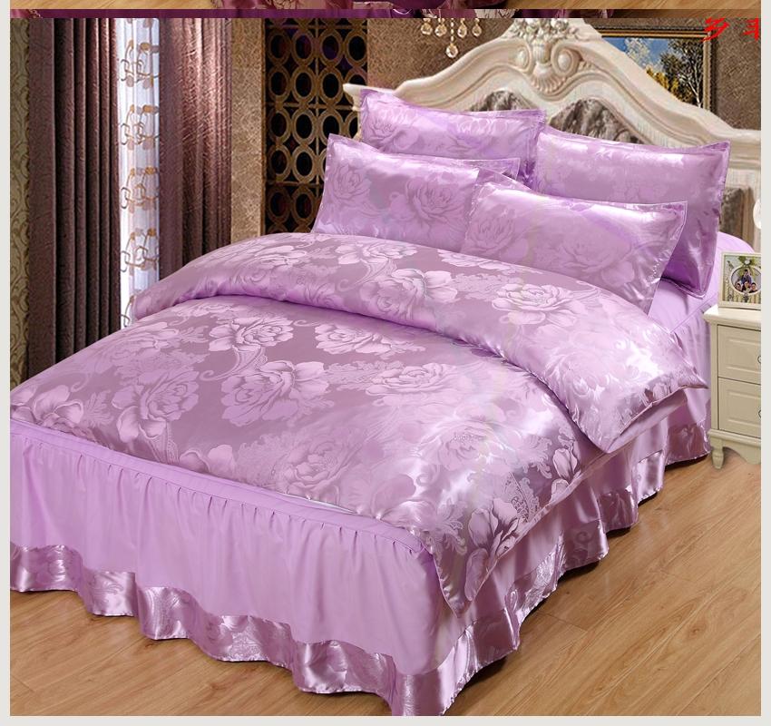 欧式夏季冰丝床裙四件套天丝绸贡缎被套韩版公主1.8m床罩床上用品