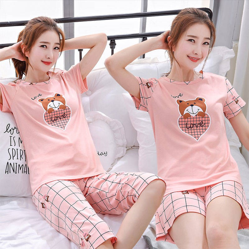 Bathrobe womens summer short sleeve shorts suit lovely and fresh student summer thin Korean Pajama womens home clothes