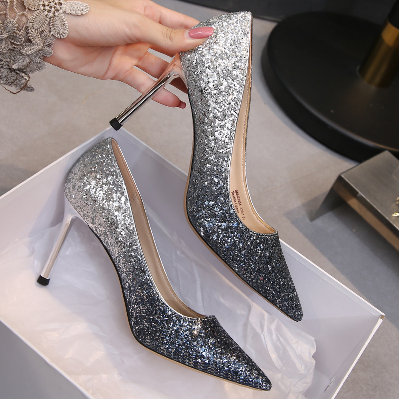 Gradient crystal shoes fall / winter 2019 new slim heel wedding shoes pointy sequins sexy womens shoes net red high heel single shoes