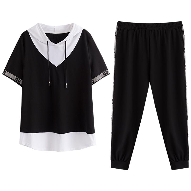 【夏装直播上新】大码女装运动休闲两件套胖妹妹时尚简约卫衣套装
