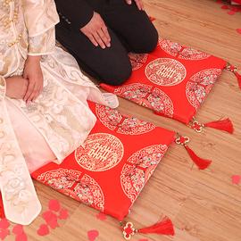 结婚庆用品加厚红色喜字坐垫新娘敬茶拜天地跪垫婚礼坐福垫一对图片