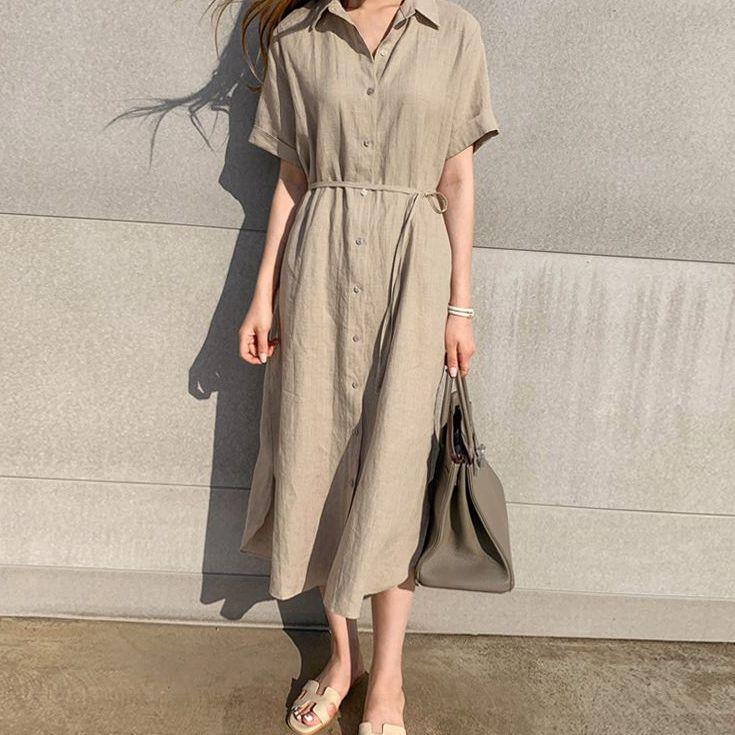 现货简约宽松系带收腰单排扣短袖亚麻衬衫连衣裙