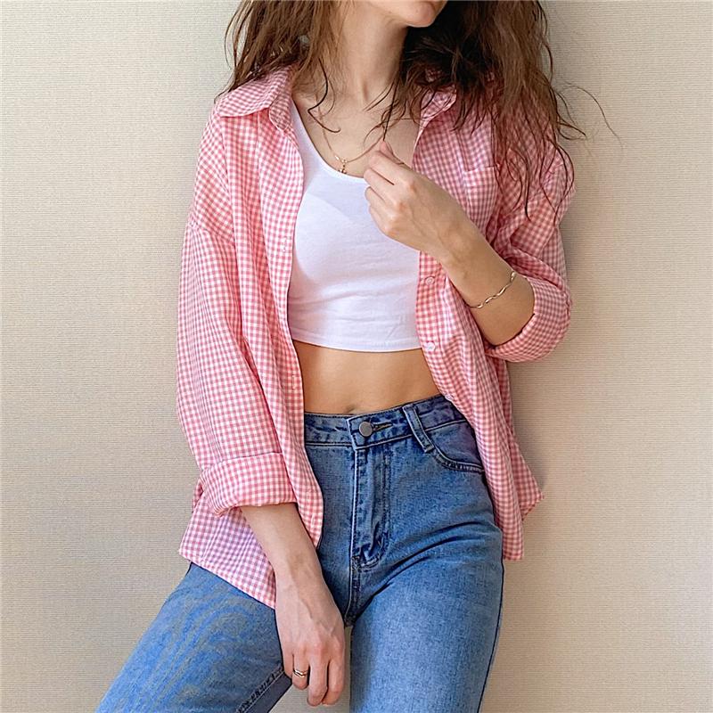 實拍現貨粉色小格子口袋單排扣襯衫