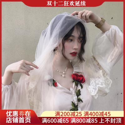玫瑰雪纺V领连衣裙洛丽塔蝴蝶结幻彩透视智熏花边裙欧洲中世纪