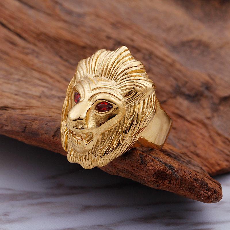 钛钢士戒指指环欧美朋克霸气红眼狮子头金色时尚摇滚嘻哈饰品男