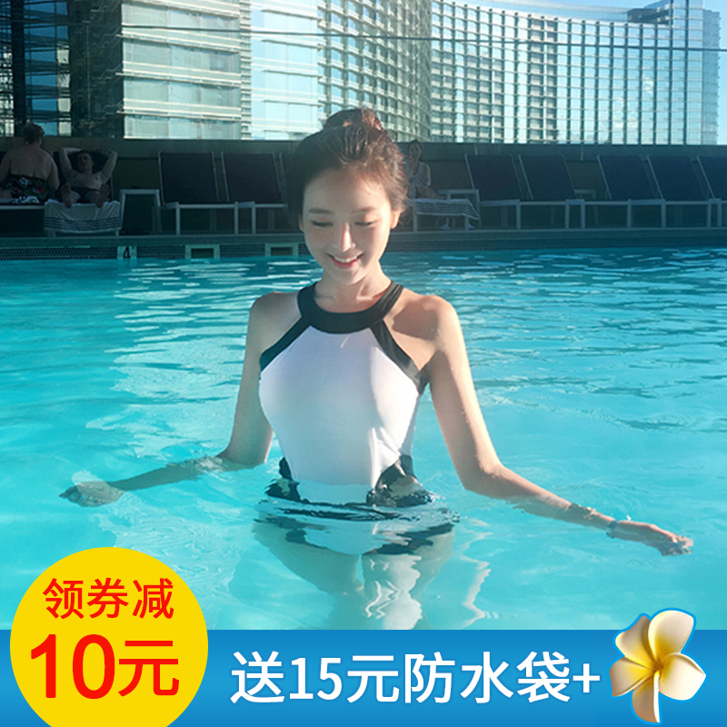 2018 new swimsuit womens black and white sexy one piece Triangle Bikini open back conservative thin hot spring swimsuit