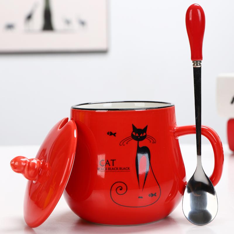 陶瓷杯子马克杯带盖勺创意情侣早餐杯牛奶杯logo定制咖啡杯大水杯