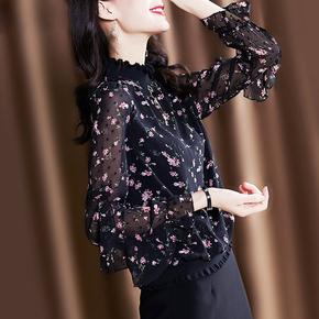 上衣女碎花打底衫立领气质时尚小衫2020洋气春秋网纱雪纺衫蝴蝶结