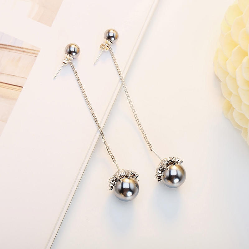 S925 sterling silver long pearl earrings female grey 2020 new Chaobei Pearl Earrings temperament Korean earrings earrings