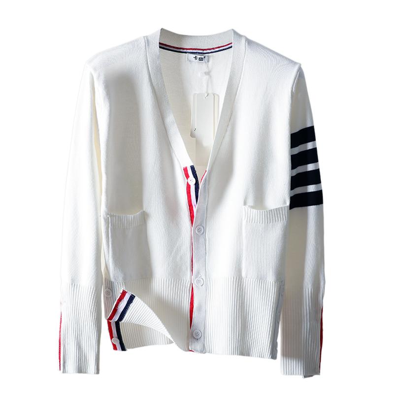 tb开衫女2018春秋装新款白色针织衫开衫撞色四道杠条纹上衣短外套