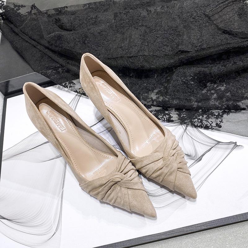 尖头高跟鞋女2020春季新款百搭小清新法式少女性感浅口细跟单鞋女