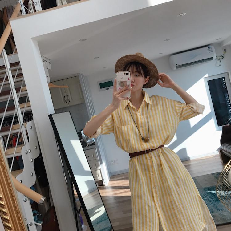 FAYE 韩国代购 时髦洋气好版型的宽竖条纹衬衫款连衣裙 宽松显瘦