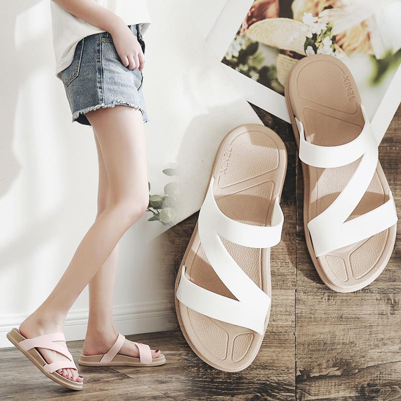 2018新款时尚一字拖女夏季外出凉拖鞋女士沙滩鞋百搭厚底外穿平底