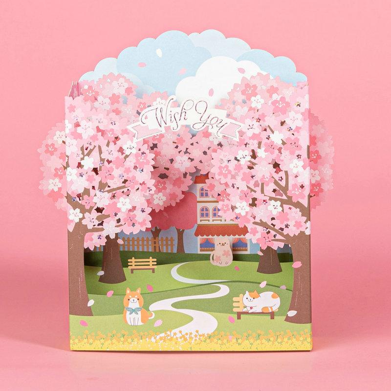 新品韩版创意唯美樱花立体贺卡可爱萌宠猫咪场景卡片祝福感谢樱花