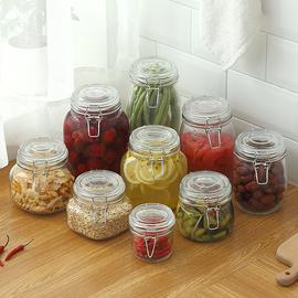 玻璃罐泡菜坛子泡酒玻璃瓶带盖储物罐泡菜罐食品罐蜂蜜罐密封罐子图片