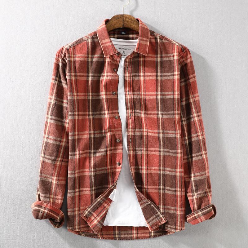 简约男士纯棉格子衬衫长袖复古水洗做旧宽松翻领薄款透气男款衬衣限2000张券