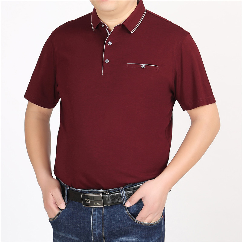 Middle aged and old peoples short sleeve super large T-shirt polo shirt summer fat plus extra large mens coat