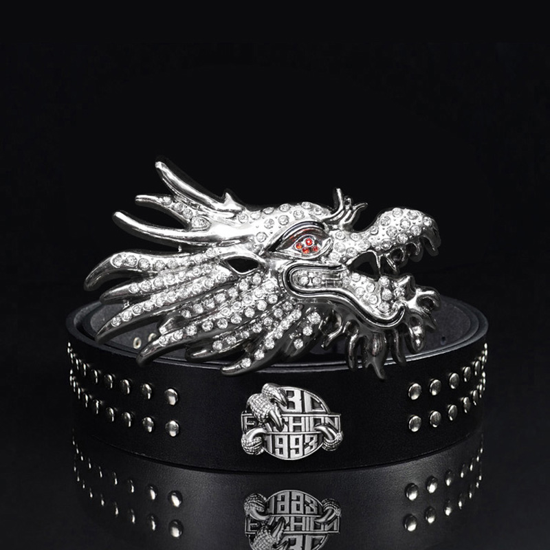 Korean male singer hairstylists head smooth buckle belt male leather inlaid with diamond cowhide belt punk rivet belt
